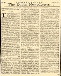 Dublin News Letter, February 28, 1740, Page 1