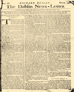 Dublin News Letter, March 25, 1740, Page 1