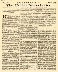 Dublin News Letter, August 12, 1740, Page 1
