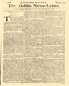 Dublin News Letter, August 23, 1740, Page 1