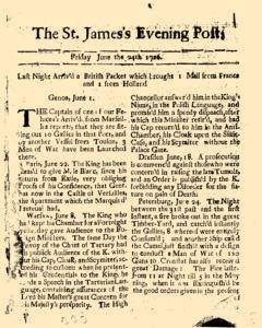 Dublin St James Evening Post, June 24, 1726, Page 1