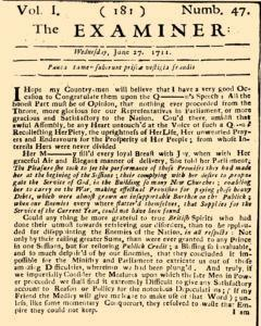 Examiner, June 27, 1711, Page 1