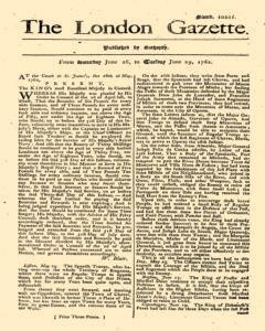 London Gazette newspaper archives