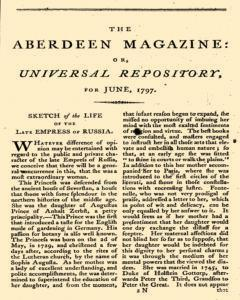 Aberdeen Magazine Or Universal Repository, June 01, 1797, Page 1