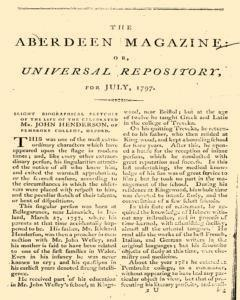 Aberdeen Magazine Or Universal Repository, July 01, 1797, Page 1