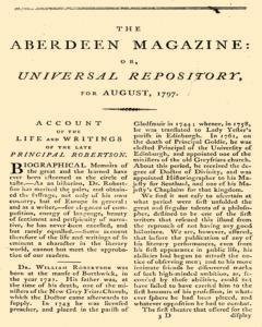 Aberdeen Magazine Or Universal Repository, August 01, 1797, Page 1