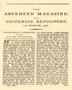 Aberdeen Magazine Or Universal Repository, March 01, 1798, Page 1