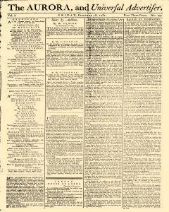 Aurora And Universal Advertiser, February 16, 1781, Page 1