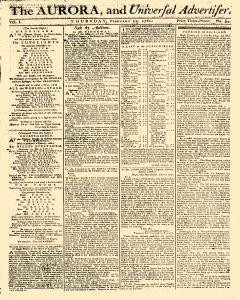 Aurora And Universal Advertiser, February 22, 1781, Page 1