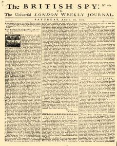 British Spy Or New Universal London Weekly Journal