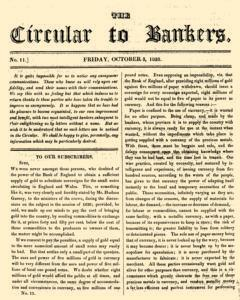 Circular To Bankers, October 03, 1828, Page 1