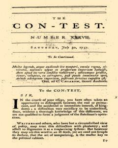 Con Test, July 30, 1757, Page 1