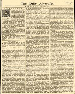 Daily Advertiser, February 14, 1743, Page 1