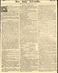 Daily Advertiser, April 18, 1743, Page 1