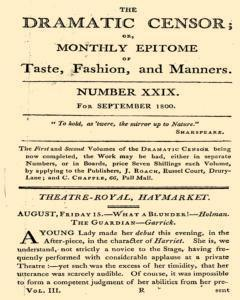 Dramatic Censor, September 01, 1800, Page 1