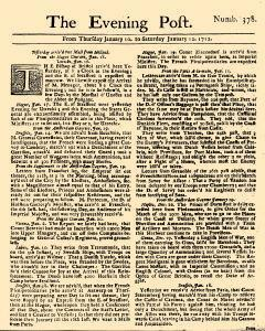 Evening Post, January 10, 1712, Page 1