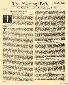 Evening Post, February 26, 1712, Page 1