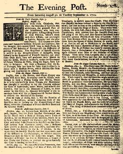 Evening Post, August 30, 1712, Page 1