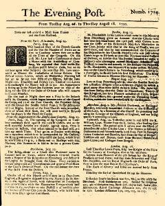 Evening Post, August 16, 1720, Page 1