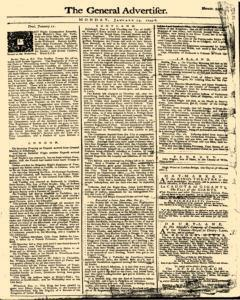 General Advertiser, January 13, 1745, Page 1