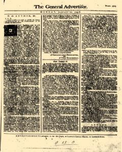 General Advertiser, January 20, 1745, Page 1