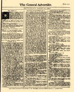 General Advertiser, January 25, 1745, Page 1