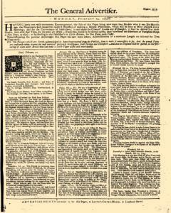 General Advertiser, February 24, 1745, Page 1