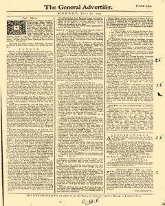 General Advertiser, July 29, 1745, Page 1
