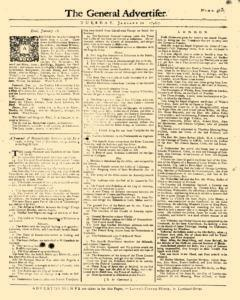 General Advertiser, January 20, 1746, Page 1