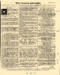 General Advertiser, March 21, 1746, Page 1