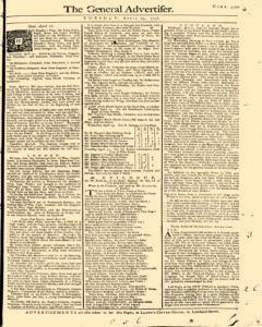 General Advertiser, April 29, 1746, Page 1