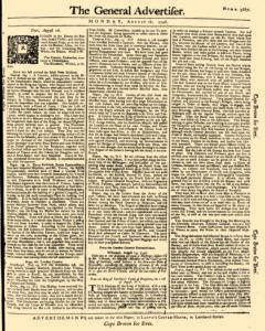 General Advertiser, August 18, 1746, Page 1