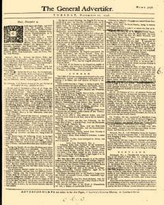 General Advertiser, November 11, 1746, Page 1
