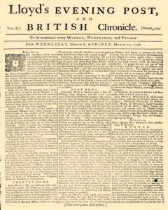 Lloyds Evening Post And British Chronicle, March 08, 1758, Page 1