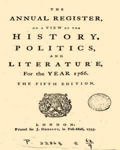 London Annual Register, January 01, 1766, Page 1