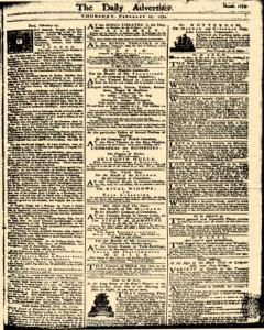 London Daily Advertiser, February 27, 1734, Page 1