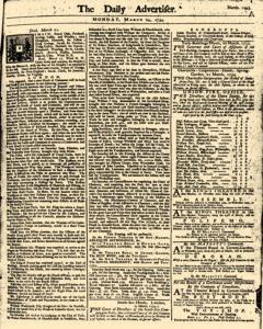 London Daily Advertiser, March 24, 1734, Page 1