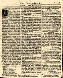 London Daily Advertiser, April 10, 1734, Page 1