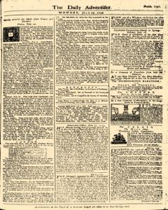 London Daily Advertiser, July 29, 1734, Page 1