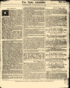 London Daily Advertiser, September 24, 1734, Page 1