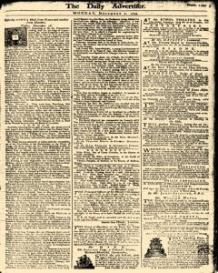 London Daily Advertiser, December 02, 1734, Page 1