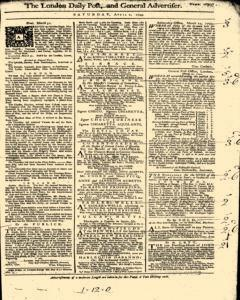 London Daily Post And General Advertiser, April 02, 1743, Page 1