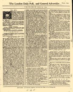 London Daily Post And General Advertiser, April 07, 1743, Page 1