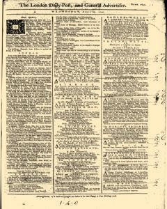 London Daily Post And General Advertiser, April 27, 1743, Page 1
