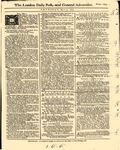 London Daily Post And General Advertiser, May 05, 1743, Page 1