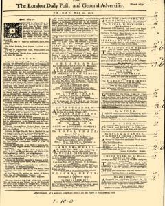 London Daily Post And General Advertiser, May 20, 1743, Page 1