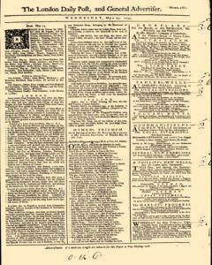 London Daily Post And General Advertiser, May 25, 1743, Page 1