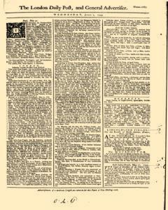 London Daily Post And General Advertiser, June 01, 1743, Page 1