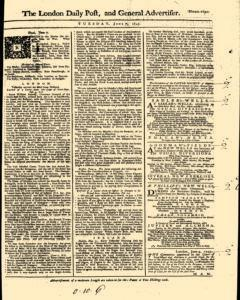London Daily Post And General Advertiser, June 07, 1743, Page 1