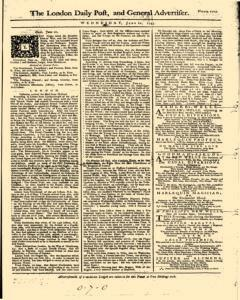 London Daily Post And General Advertiser, June 22, 1743, Page 1